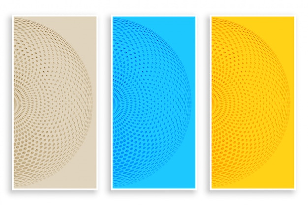 Banners de semitono circular de tres colores.
