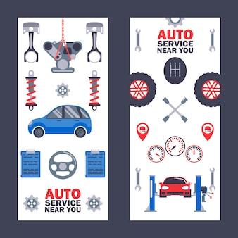Banners de servicio de automóviles centro profesional de mantenimiento de automóviles diagnóstico y ajuste de reparación de vehículos