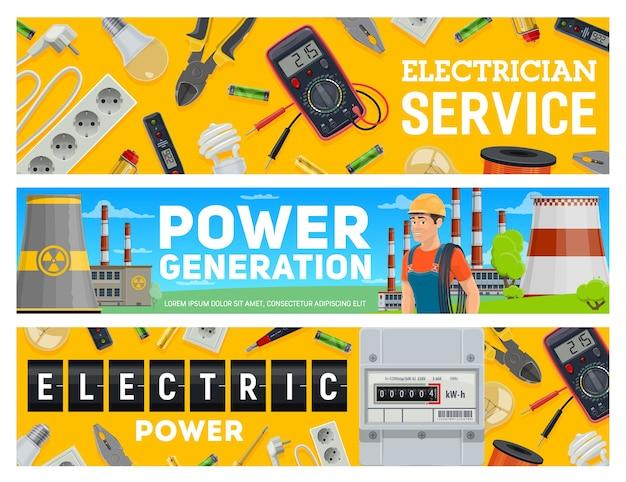 Banners de servicio de electricista y generación de energía eléctrica.