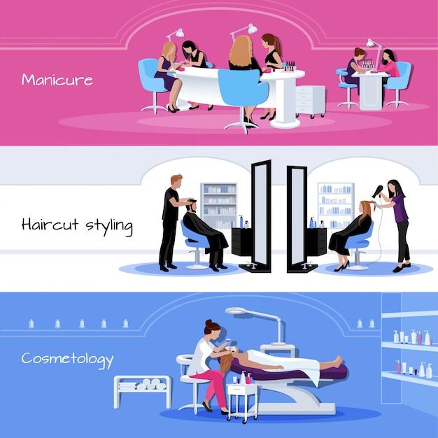 Banners de servicio de salón de belleza con clientes y trabajadores en diferentes situaciones.