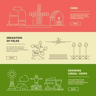Banners de símbolos de granja. pueblo de naturaleza de campo de trigo