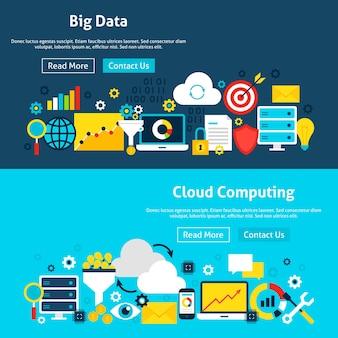 Banners de sitios web de análisis de big data. ilustración de vector de encabezado web. diseño plano de business analytics.