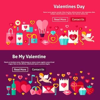 Banners de sitios web de feliz día de san valentín. ilustración de vector de encabezado web. me encanta el diseño plano moderno.