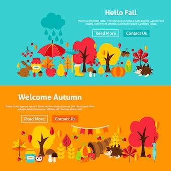 Banners de sitios web de otoño. ilustración vectorial de stock del concepto estacional de otoño.