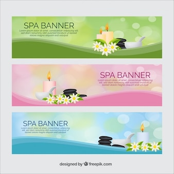 Banners de spa con productos de belleza