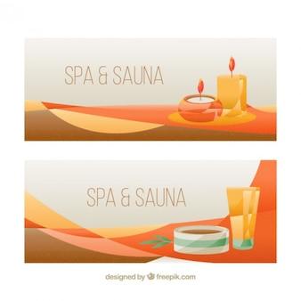 Banners de spa con velas y cosméticos
