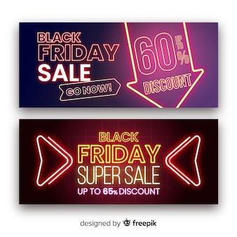 Banners de super venta de viernes negro