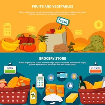 Banners de supermercado de frutas vegetales verduras