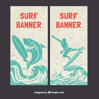 Banners de surf con un tiburón