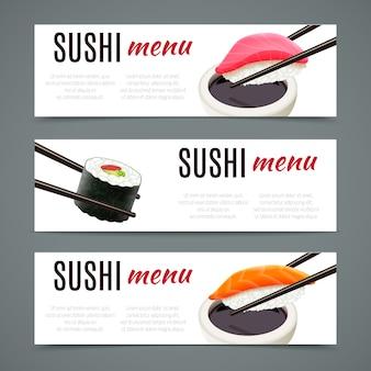 Banners de sushi horizontales