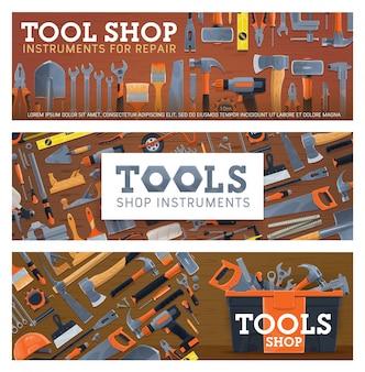 Banners de taller de herramientas con equipo de reparación de casas.