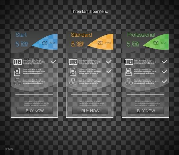 Banners de tarifas. tabla de precios web. para la aplicación web lista de precios. negro