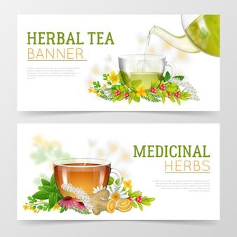 Banners de té de hierbas y hierbas medicinales