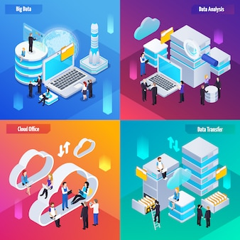 Banners de tecnología de análisis de big data