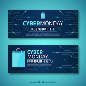 Banners tecnológicos de cyber monday