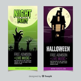 Banners terroríficos de halloween con diseño plano