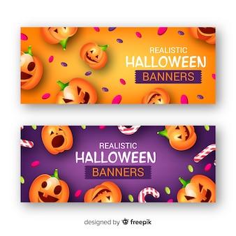 Banners terroríficos de halloween con diseño realista
