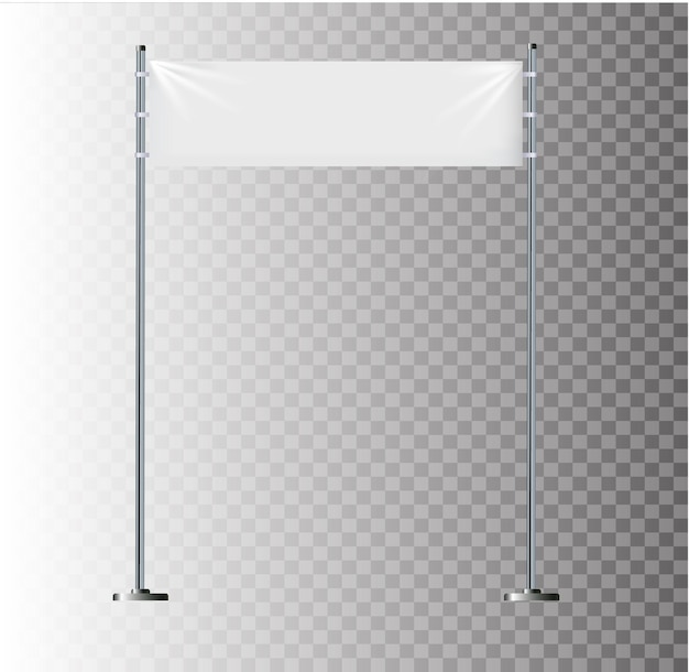 Banners textiles blancos con pliegues en blanco maqueta de tela colgante elementos de diseño gráfico para publicidad ...