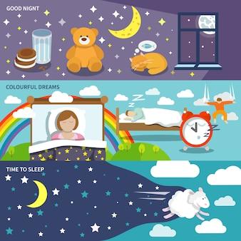 Banners de tiempo de dormir