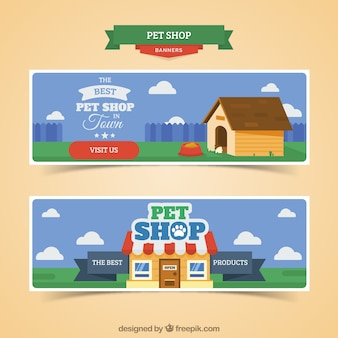 Banners de tienda de animales con el cielo azul