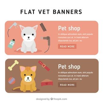 Banners de tienda de animales en estilo plano
