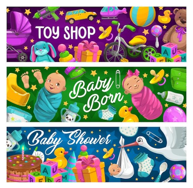 Banners de tienda de juguetes y productos para niños.