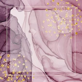 Banners de tinta de alcohol púrpura con marco geométrico y confeti brillante.