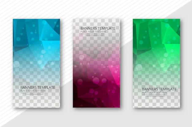 Banners transparentes polígono abstracto conjunto vector plantilla