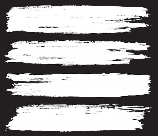Banners de trazo de pincel blanco