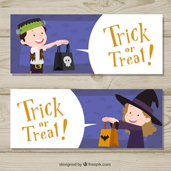 Banners de truco o trato con niños de halloween