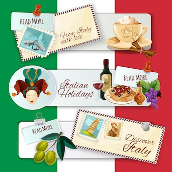Banners turísticos de italia