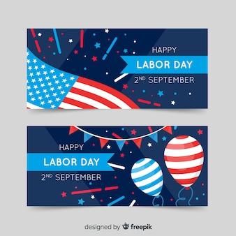 Banners de usa labor day en estilo plano