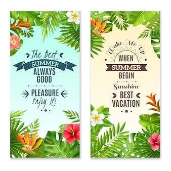 Banners de vacaciones coloridas plantas tropicales