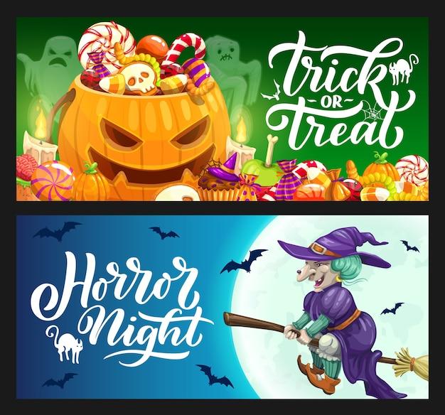 Banners de vacaciones de halloween con dulces de truco o trato, calabazas, fantasmas y brujas en escoba. noche de terror luna llena, murciélagos, gatos y redes de araña, calavera, cerebro zombi y gelatinas de gusanos