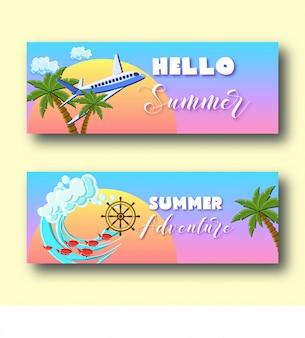 Banners de vacaciones de verano con palmeras