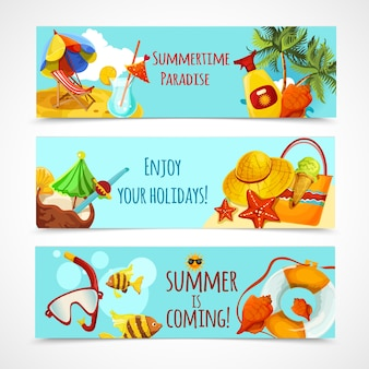 Banners de vacaciones de verano