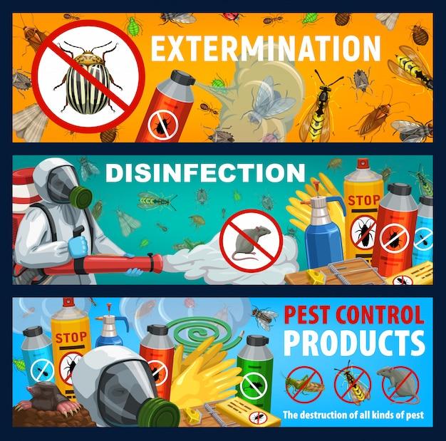 Banners de vector de control de insectos o ratas de desinsección