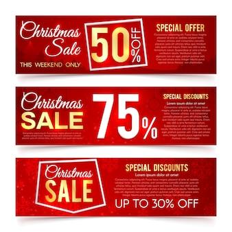 Banners de vector de ventas de navidad