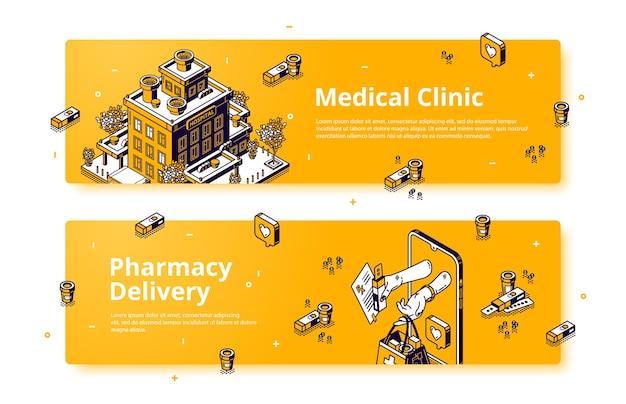 Banners vectoriales de entrega clínica y farmacia médica.