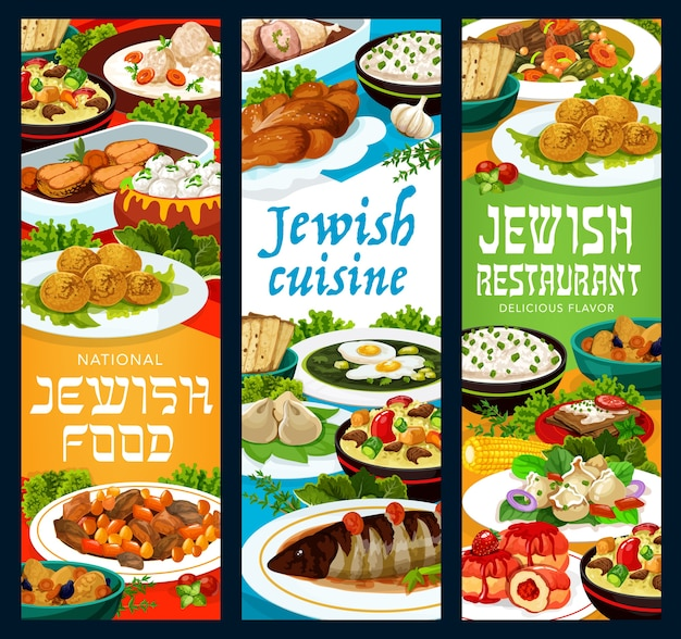 Banners vectoriales de restaurante de comida judía con falafel, forshmak y cordero cholent, albóndigas de pescado gefilte, sopa fría de acedera y rosquillas sufganiyot, albóndigas de carne kreplach, crepes y pollo relleno