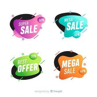 Banners de venta abstracta en estilo líquido