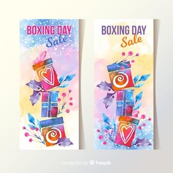 Banners de venta de acuarela día de boxeo