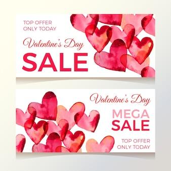 Banners de venta de acuarela día de san valentín