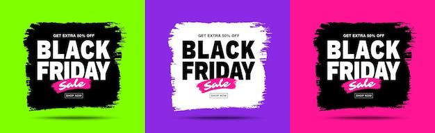 Banners de venta de black friday marco de borrones de trazo de pincel para ventas y descuentos conjunto de black friday