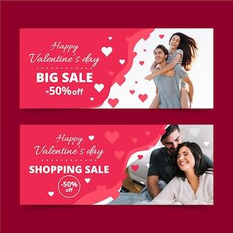 Banners de venta de compras de san valentín con foto.