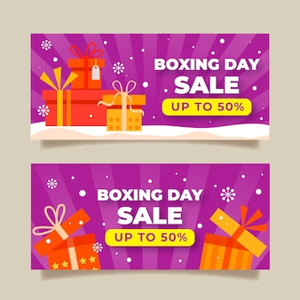 Banners de venta de día de boxeo en diseño plano