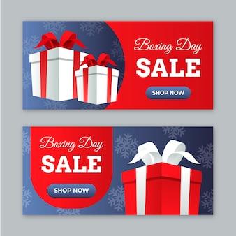 Banners de venta de día de boxeo de diseño plano