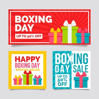 Banners de venta de día de boxeo plano