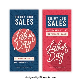 Banners de venta de día laboral en estilo plano