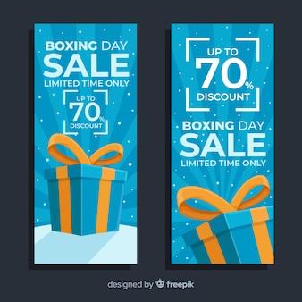 Banners de venta de día plano de boxeo en tonos azules